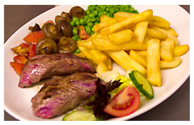 Traditional steak and chips