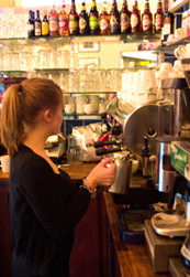 Making fresh coffee in the restaurant
